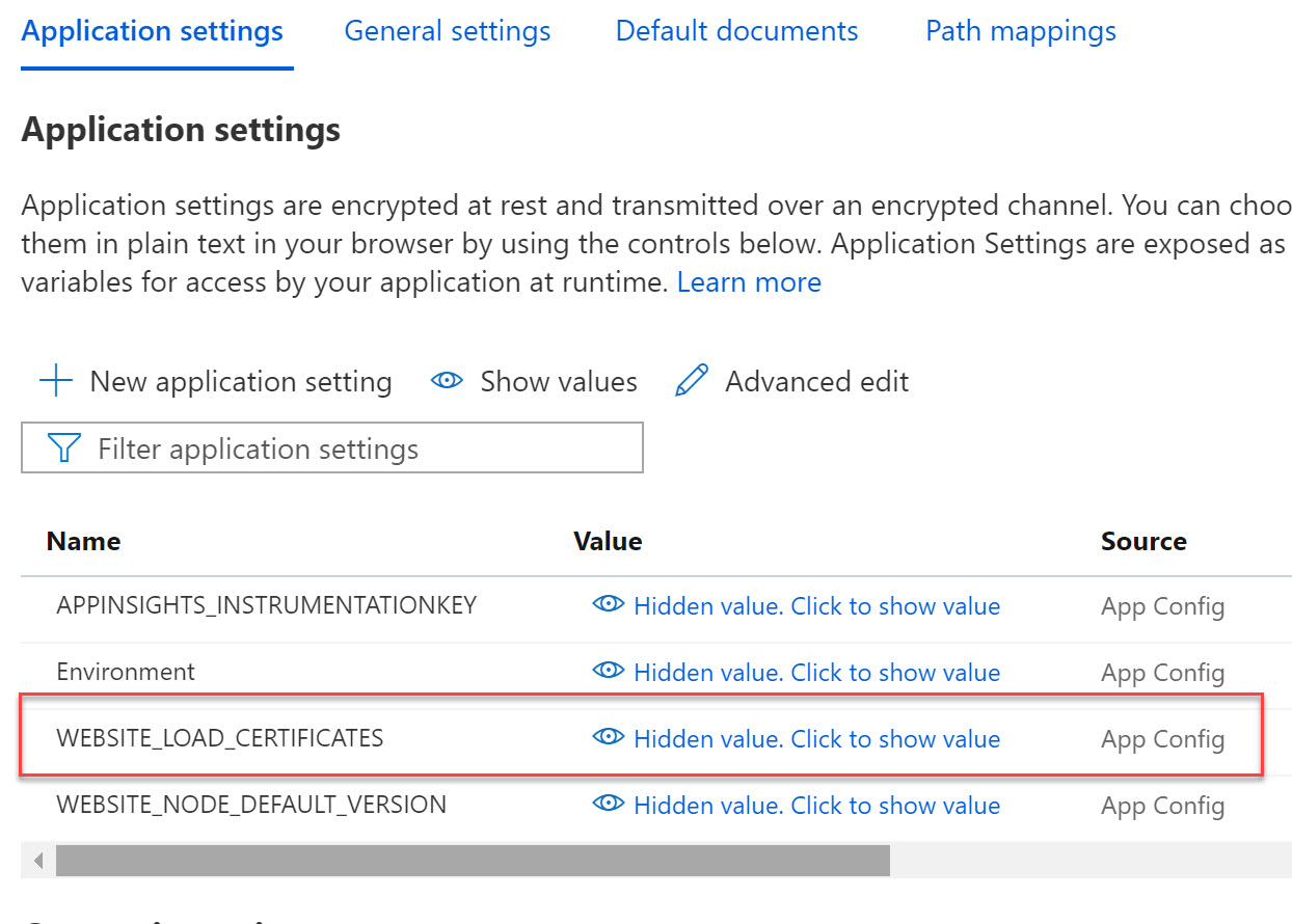Azure app settings