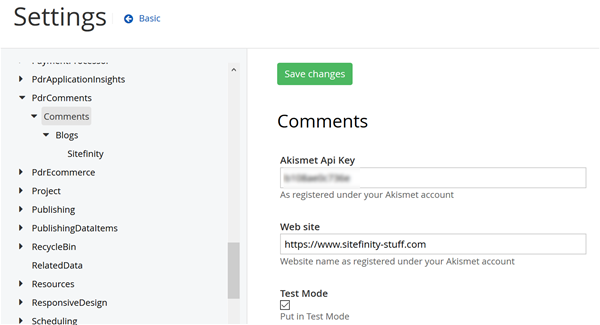 Comments configuration Screen 1